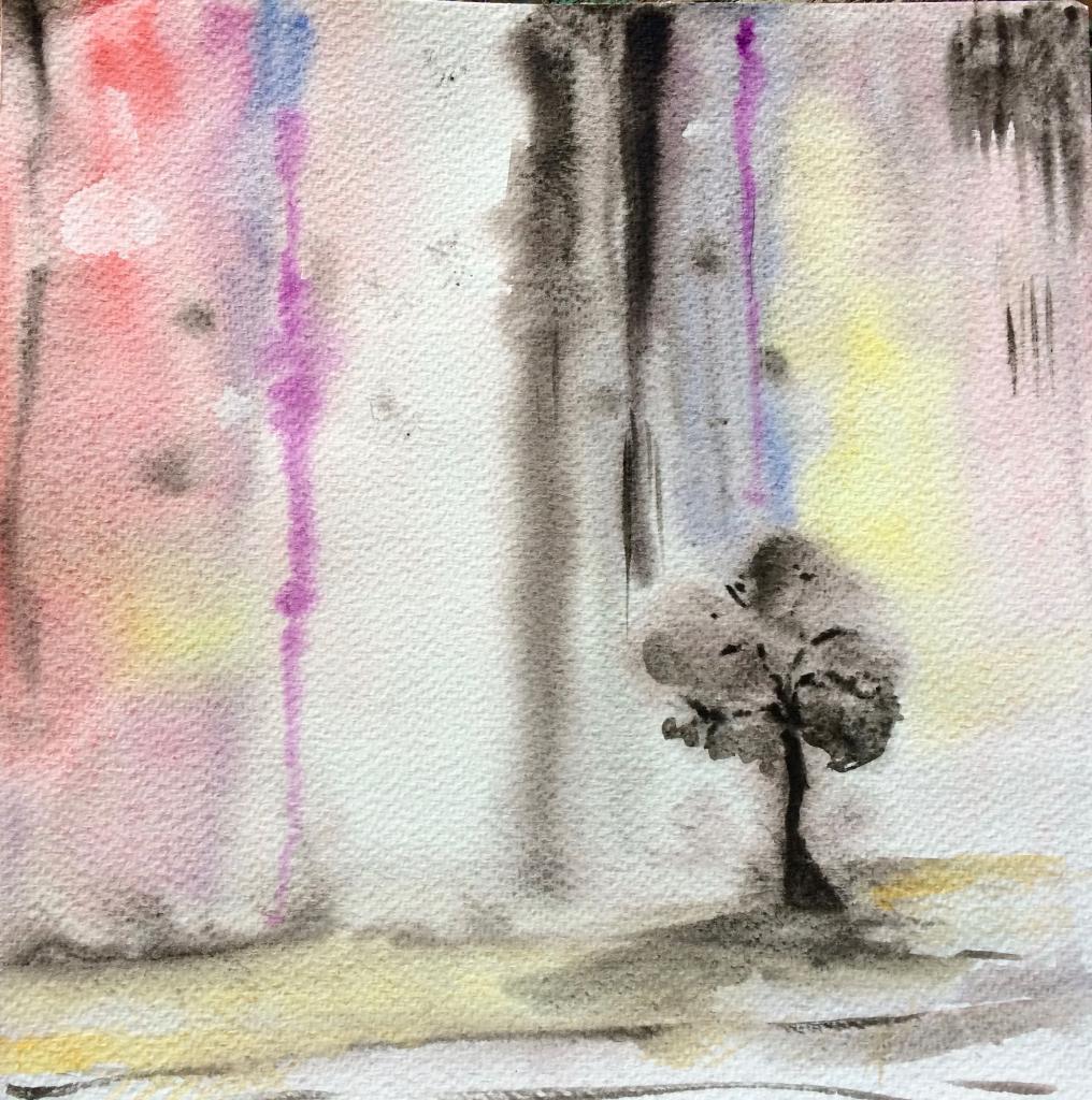 aquarelle sous la pluie 25 x25 cm