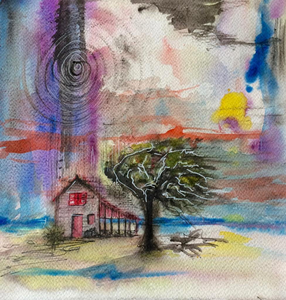 aquarelle sous la pluie 25 x25 cm, Matheew