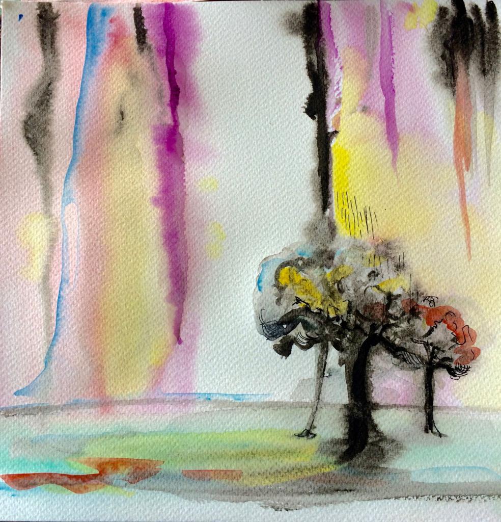 aquarelle sous la pluie 25 x25 cm, vendue