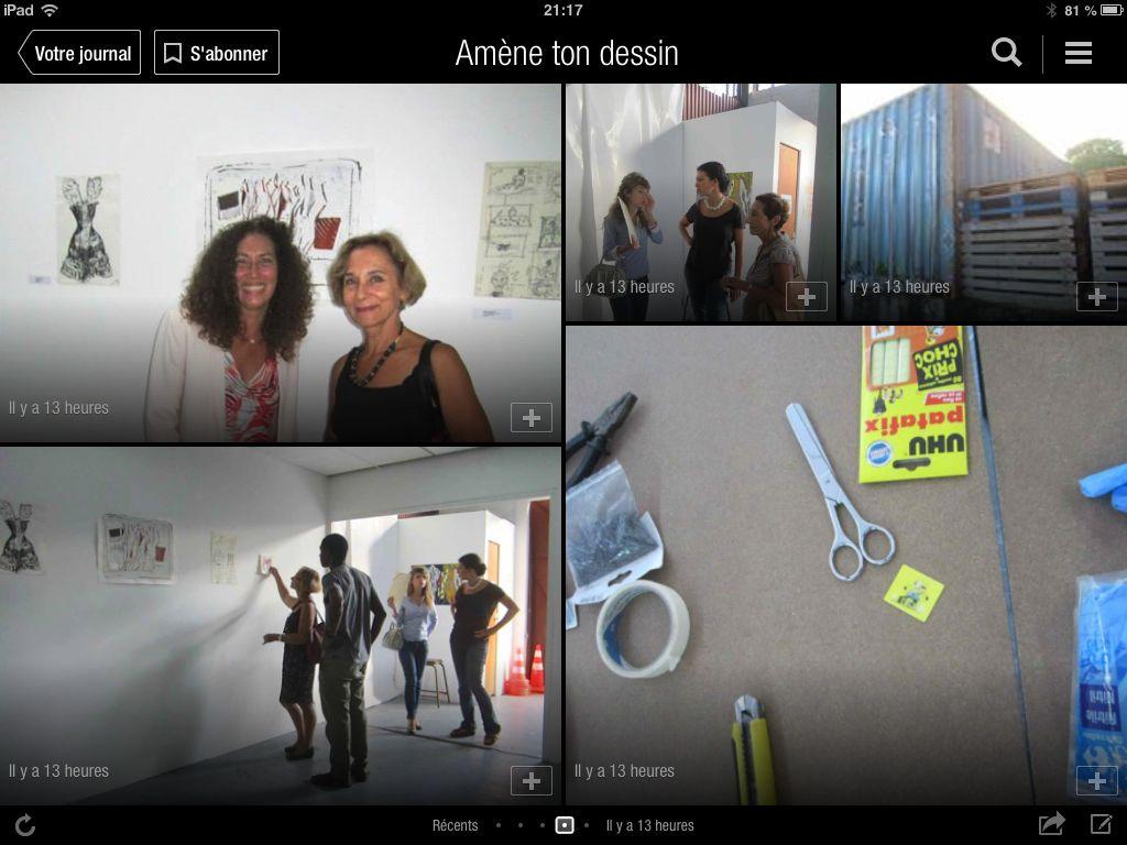 Accrochage expo éphémère de dessins