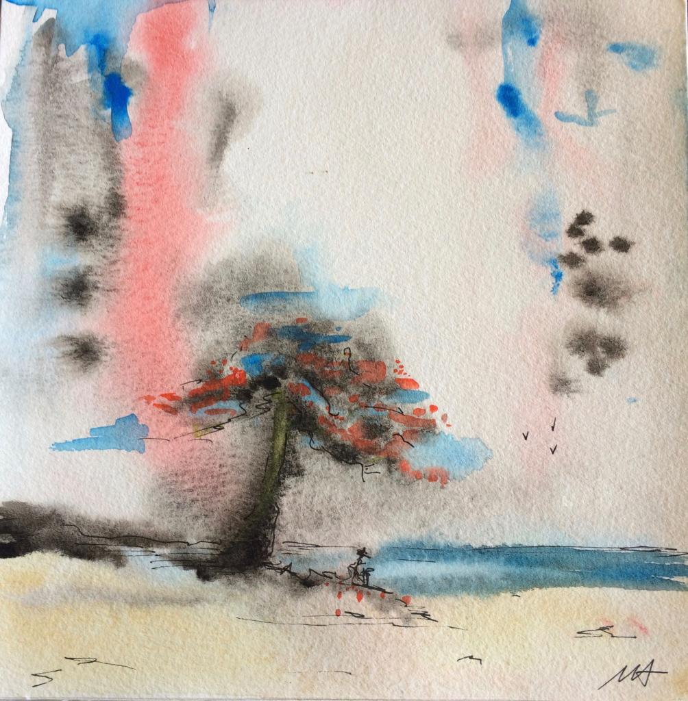 aquarelle sous la pluie 20x20 n°1