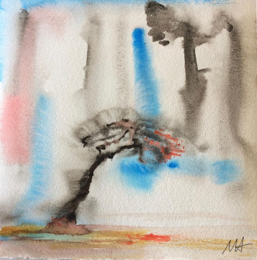 aquarelle sous la pluie 20x20 n°2