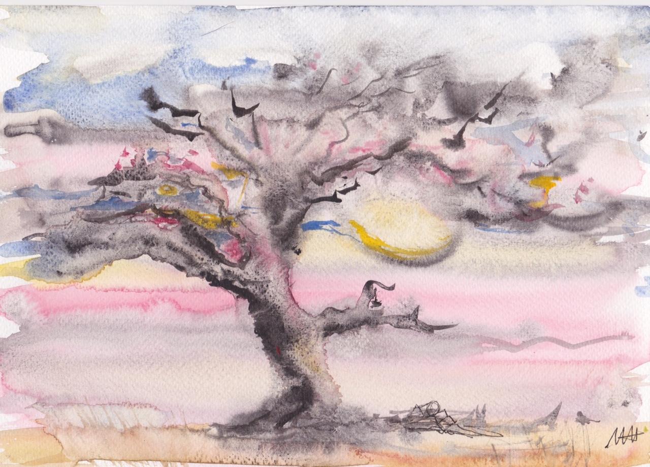 aquarelles sous les arbres - 4 vendu