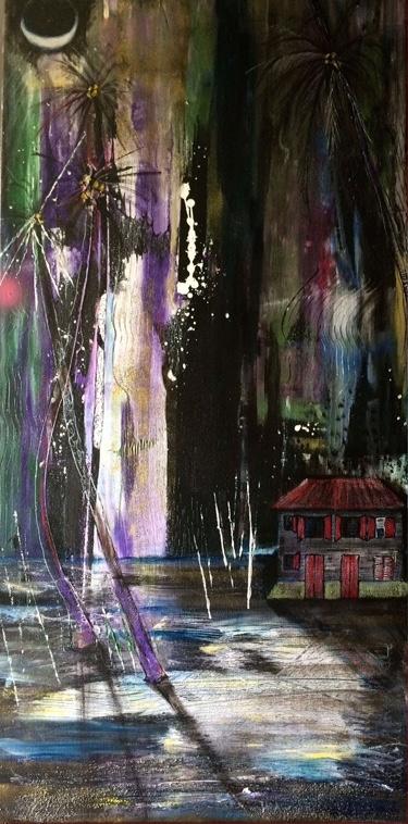nuit 2 100 x 50 cm acryl + résine sur toile