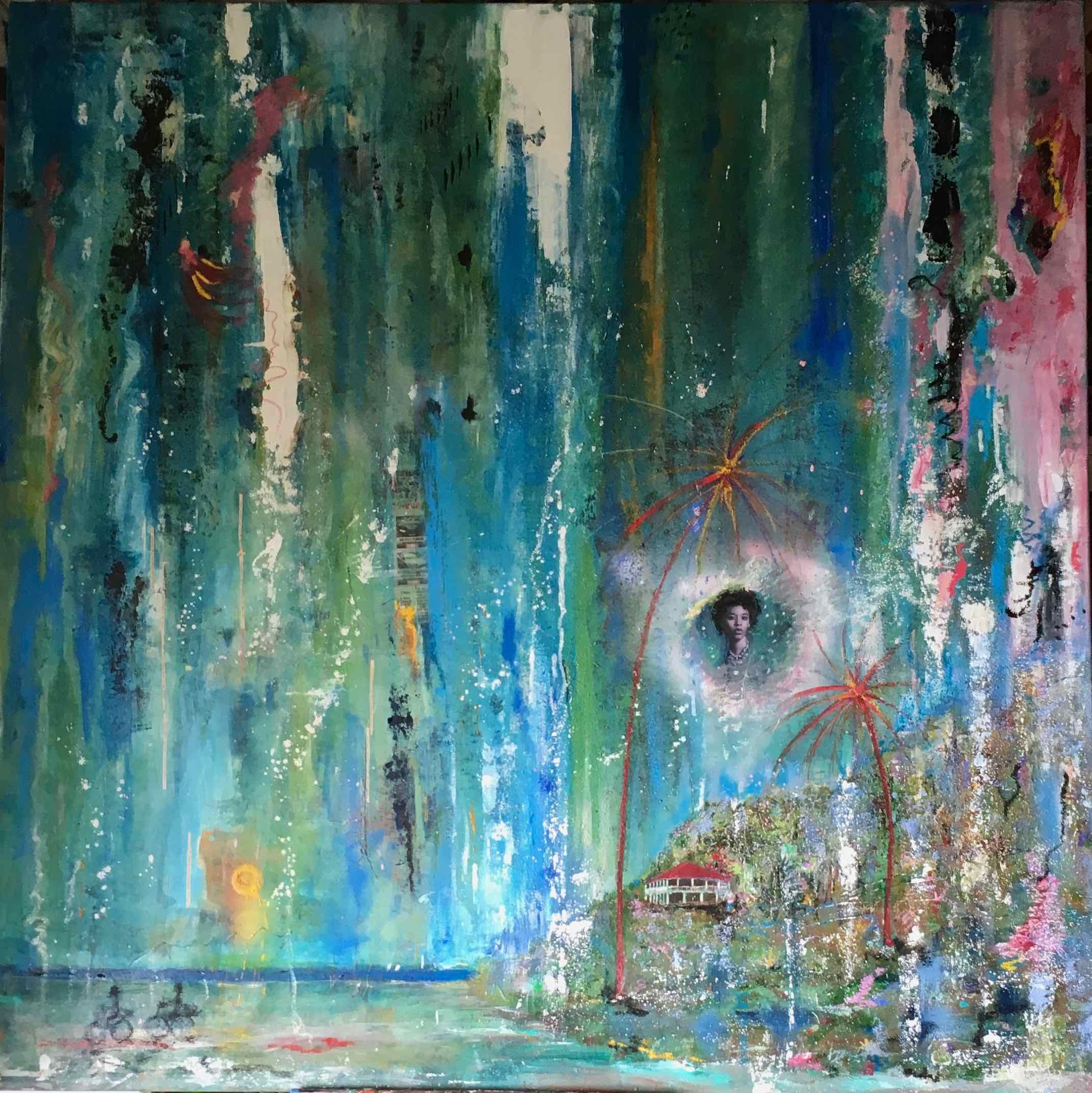 Rêveries mixte sur toile 148-148 cm 2019